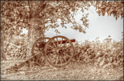Confederate Posters - Gettysburg Battlefield Cannon Seminary Ridge Sepia Poster by Randy Steele