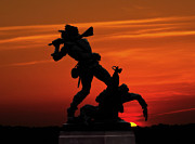 Confederate Monument Prints - Gettysburg Battlefield Mississippi Memorial Sunset Print by Randy Steele