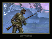 Army Of The Potomac Framed Prints - Gettysburg Battlefield Poster Framed Print by Randy Steele