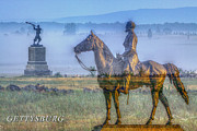 Army Of The Potomac Digital Art Framed Prints - Gettysburg Battlefield Framed Print by Randy Steele
