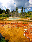 Landscape Framed Prints Framed Prints - Geyser Pool At Yellowstone Framed Print by Steven Ainsworth