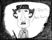 Thedailydose.com Drawings Originals - Ghadafi Out by Yasha Harari