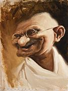 Caricature Framed Prints - Ghandi Framed Print by Court Jones