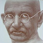Leaders Drawings Prints - Ghandi Print by Gary Kaemmer
