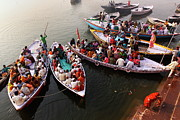 People Rowing Framed Prints - Ghats Of Varanasi, India Framed Print by Soumen Nath Photography