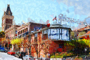 San Francisco Landmarks Digital Art Metal Prints - Ghirardelli Chocolate Factory San Francisco California . Painterly . 7D14093 Metal Print by Wingsdomain Art and Photography