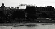 San Francisco Mixed Media Metal Prints - Ghirardelli Square in Black and White Metal Print by Linda Woods