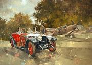 Transportation Tapestries Textiles Prints - Ghost and Spitfire  Print by Peter Miller