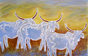 Longhorn Drawings Posters - Ghost Cattle Poster by Susan Greenwood Lindsay