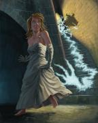 Horror Illustration Prints - Ghost Chasing Princess In Dark Dungeon Print by Martin Davey