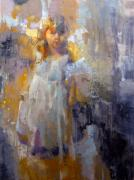 Abstracted Mixed Media Originals - Ghost Child II by Cathy Locke