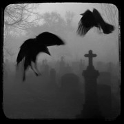 Tombstones Prints - Ghost Crows Print by Gothicolors And Crows