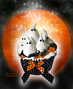 Halloween Card Mixed Media Posters - Ghost Cupcake Poster by Carol Cavalaris