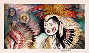 Colorful Native American Framed Prints - Ghost Face Dancer Framed Print by Tanja Ware