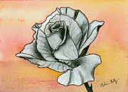 Rose Drawings Prints - Ghost Flower # 4 Print by Melissa Bittinger