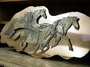 Animals Sculptures - Ghost-herd SOLD by Steve Mudge