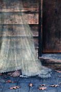 Period Clothing Prints - Ghost in White on Rustic Porch Print by Jill Battaglia