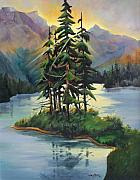 Sun Rays Painting Prints - Ghost Island near Jasper Print by Marta Styk
