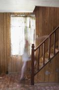Frightening Posters - Ghost On The Stairs Thunder Bay Ontario Poster by Susan Dykstra