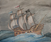 Pirate Ship Drawings Prints - Ghost Pirate Ship Print by Jaime Haney