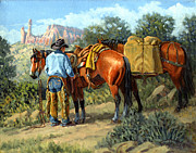 Abiquiu Paintings - Ghost Ranch Cowboy by Randy Follis