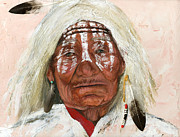 Native American Art Mixed Media Posters - Ghost Shaman Poster by J W Baker