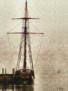 Wooden Ship Painting Prints - Ghost Ship Print by Coffee Bell