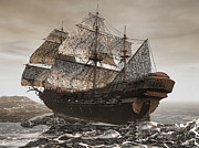 Storm Prints Digital Art Framed Prints - Ghost Ship of the Cape Framed Print by Lourry Legarde