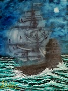 Pirates Mixed Media Originals - Ghost Ship Of The Sea by Shawna Burkhart