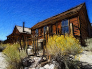 Old House Pastels Prints - Ghost Town Bodie Pastel Print by Stefan Kuhn