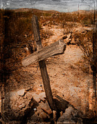 Rural Decay  Digital Art Metal Prints - Ghost Town Cross Metal Print by Sonja Quintero