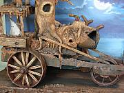 Folk  Sculptures - Ghost Tractor-closeup view by Stuart Swartz