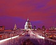 Pauls Framed Prints - Ghostly Commuters head to St Pauls on Millennium Bridge Framed Print by Chris Smith