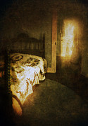 Bed Quilt Posters - Ghostly Figure in Hallway Poster by Jill Battaglia