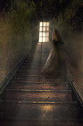 Basement Prints - Ghostly figure walking the up stairs Print by Sandra Cunningham