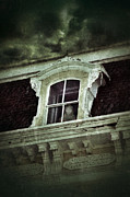 Ghostly Framed Prints - Ghostly Girl in Upstairs Window Framed Print by Jill Battaglia