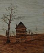 Historical Pyrography Prints - Ghostly Tobacco Barn Print by Phillip H George