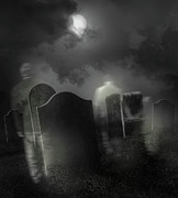 Dark Background Prints - Ghosts wandering in old cemetery  Print by Sandra Cunningham