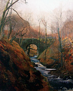 Yorkshire Bridge Framed Prints - Ghyll Beck Barden Yorkshire 1867 Framed Print by Stefan Kuhn