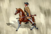 Horse Toys Framed Prints - G.I Joe on Horse American Revolution Doll  Framed Print by Randy Steele
