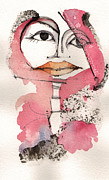 Pen And Ink Portraits Posters - Gia with Orange Lips Poster by Mark M  Mellon