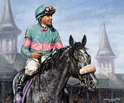 Kentucky Derby Painting Metal Prints - Giacomo at Churchill Metal Print by Thomas Allen Pauly