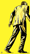 Walking Drawings Prints - Giallo Print by Giuseppe Cristiano