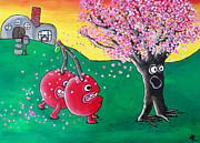 Cherry Tree Paintings - Giant Cherries Chasing Cherry Tree by Jera Sky