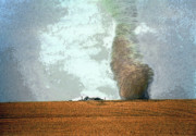 Farming Digital Art - Giant Dust Devil Approaching Farmhouse 1 by Steve Ohlsen
