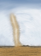 Funnel Clouds Prints - Giant Dust Devil Near Farmhouse 4 - Two-Tone Print by Steve Ohlsen