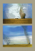 Stormy Weather Mixed Media - Giant Dust Devils Diptych by Steve Ohlsen