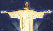 Bible Painting Prints - Giant Figure of Christ Print by English School
