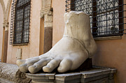 Art Sculptures Framed Prints - Giant Foot from Emperor Constantine Statue. Capitoline Museum. R Framed Print by Bernard Jaubert