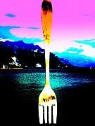 Funkpix Digital Art Posters - Giant Fork in Lake Geneva Poster by Funkpix Photo Hunter